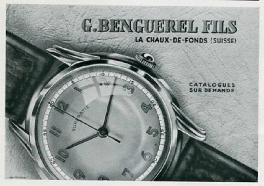 Vintage 1945 G Benguerel Fils Superatic Watch Co Switzerland Swiss Print Ad Suisse Publicite Montres