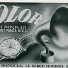 Vintage 1945 Olor Watch Co Switzerland Swiss Print Ad Suisse Publicite Montres Schweiz Suiza