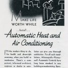 Vintage 1936 Minneapolis-Honeywell Heating Air Conditioning 1930s Print Ad Publicite Advert