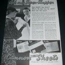 Vintage 1936 Cannon Mills Inc NYC Original 1930s Print Ad Publicite Advert Cannon Sheets