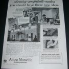Vintage 1936 Johns Manville Building Materials 1930s Print Ad Publicite Advert Asbestos Shingles