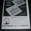 Vintage 1936 Chatham The Sheet That Talks and Tells the Truth 1930s Print Ad Advert