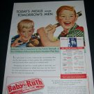 Vintage 1943 Baby Ruth Today's Meals Make Tomorrow's Men Curtiss Candy Co 1940s Print Ad Advert