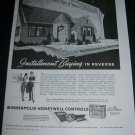 Vintage 1943 Minneapolis Honeywell Automatic Heating War Bonds WW2 WWII 1940s Print Ad Advert