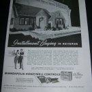 Vintage 1943 Minneapolis Honeywell Automatic Heating War Bonds WW2 WWII 1940s Print Ad Advert
