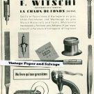 Vntage 1945 F Witschi Switzerland Original 1940s Swiss Print Ad Suisse Publicite Horlogerie Horology