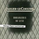Vintage 1945 Jaeger-LeCoultre Horlogerie de Luxe 1940s Swiss Print Ad Suisse Publicite Montres
