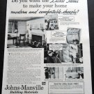 Vintage 1936 Johns-Manville Building Materials Asbestos Shingles 1930s Print Ad Publicite Advert