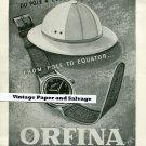 Vintage 1945 Orfina Watch Co From Pole to Equator 1940s Swiss Print Ad Suisse Publicite Montres