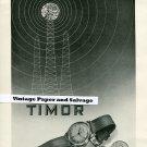 Original 1945 Timor Watch Company Switzerland Suisse Publicite Montres 1940s Swiss Print Ad Schweiz