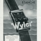 Vintage 1940 Wyler Waterproof Watch Advert Publicite Suisse Montres Swiss Print Ad Switzerland