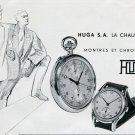 Vintage 1949 Huga SA Hugex Watch Company Switzerland Swiss Print Ad Publicite Suisse Montres Schweiz