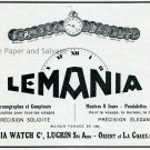 Vintage 1931 Lemania Watch Co Lugrin SA Suisse Publicite Montres Swiss Print Ad Schweiz Switzerland