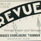 1931 Revue Watch Co Fabriques d'Horlogerie Thommen SA Swiss Print Ad Publicite Suisse Montres