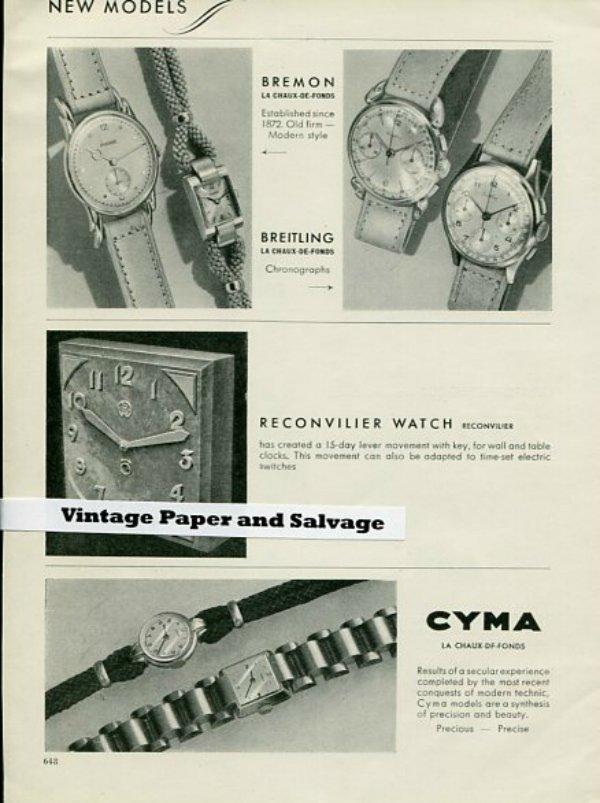 Vintage 1945 Omega Jaeger-LeCoultre Piaget Breitling Reconvilier Heuer Lavina Arsa New Watch Models