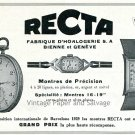 1931 Recta Watch Co Fabrique d'Horlogerie SA Original Swiss Ad Publicite Suisse Montres