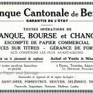 Vintage 1931 Banque Catonale de Berne Switzerland Swiss Print Ad Publicite Suisse Schweiz 1930s