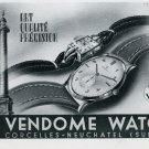 1947 Vendome Watch Company Corcelles-Neuchatel Switzerland Swiss Advert Suisse Publicite