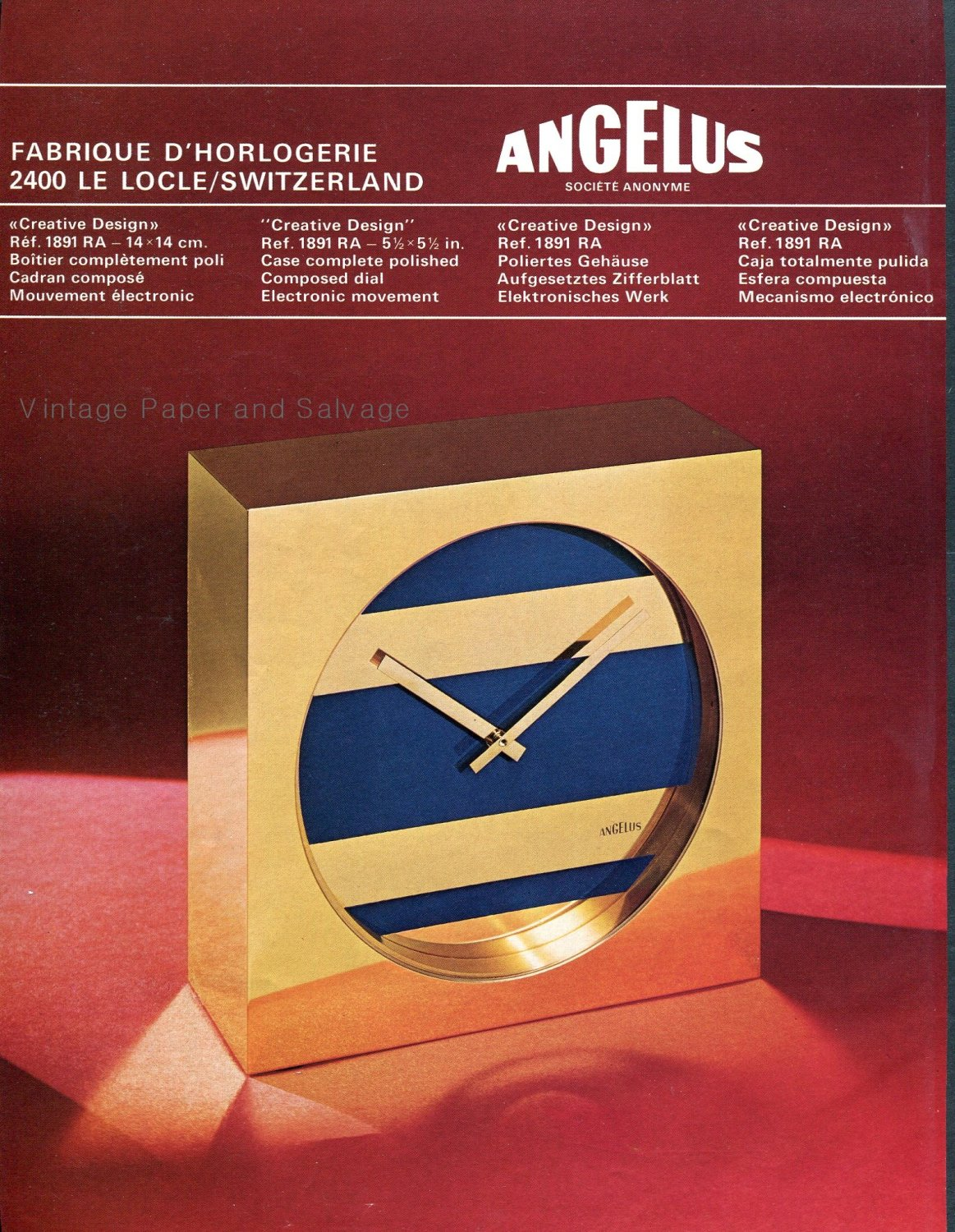Angelus SA Clock Company Le Locle Switzerland 1974 Swiss Magazine Ad Advert Publicite Suisse