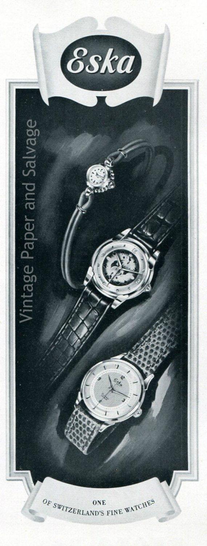 Vintage 1952 Eska Watch Company Switzerland 1950s Swiss Advert Publicite Suisse Montres