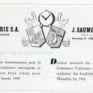 Vintage 1945 Oris CH SA Watch Co Switzerland 1940s Swiss Advert Publicite Suisse Montres