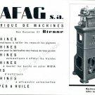Vintage 1942 Safag SA Fabrique de Machines Bienne CH Swiss Print Ad Publicite Suisse Schweiz