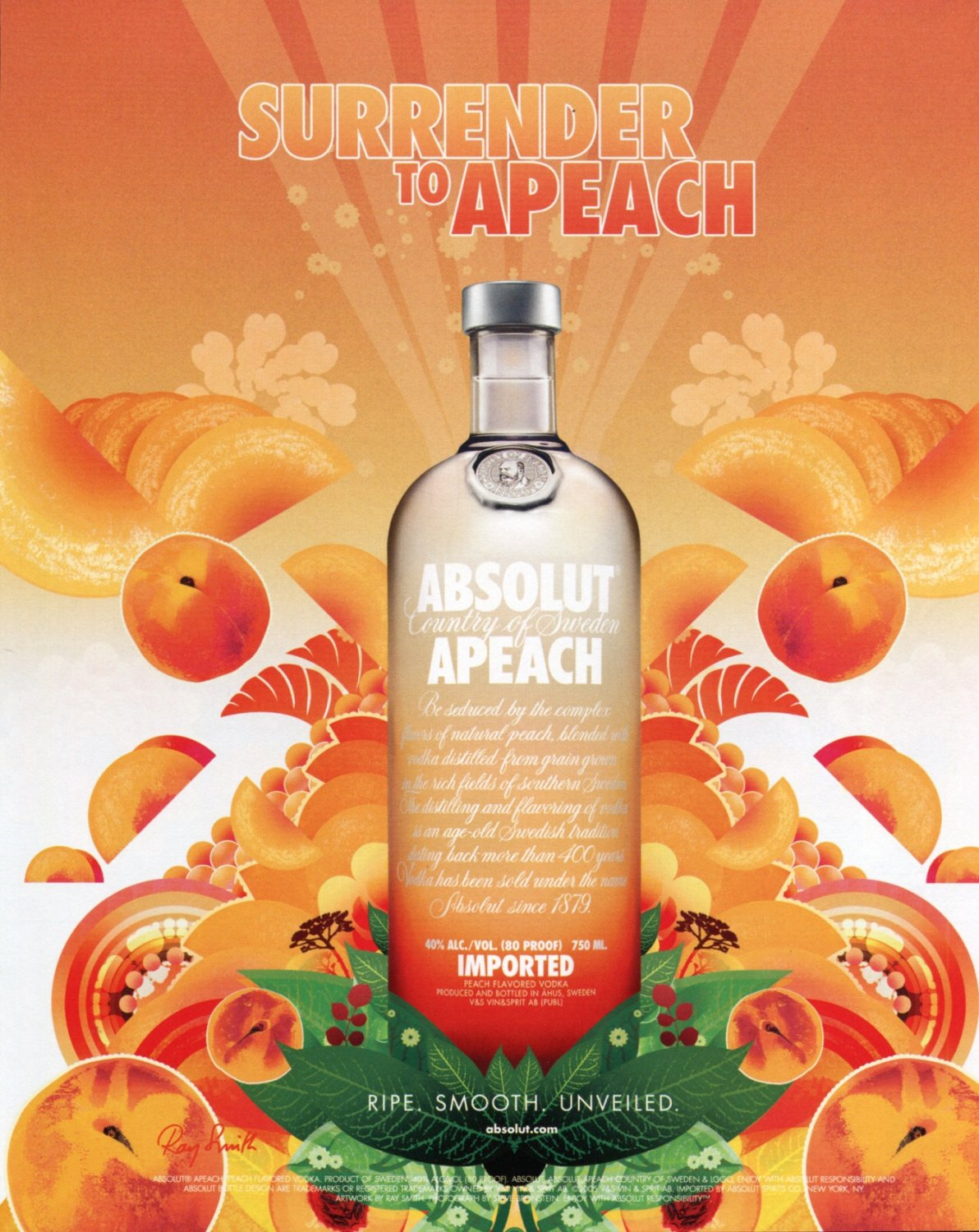 Ray Smith Absolut Apeach Absolut Vodka Ad Publicite Advert Surrender to Apeach Peach
