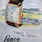 Vintage 1948 Lanco Langendorf Watch Co Switzerland Swiss Advert Publicite Suisse CH
