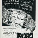 Vintage 1948 Universal Watch Co Universal Geneve Switzerland Swiss Advert Publicite Suisse