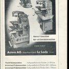 Vintage 1947 Aciera AG Maschinenfabrik Swiss Print Ad Advert Suisse Publicite Schweiz Switzerland