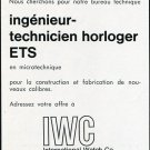 1969 IWC International Watch Company Employment Advertisement Swiss Advert