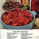1970 B in B Mushrooms Lancaster PA Beef Burgundy Boeuf Bourguignon Ad Advert