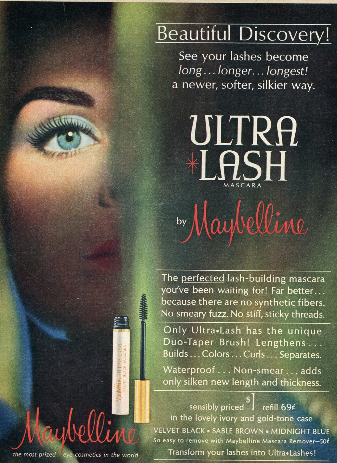 1964 Maybelline Ultra Lash Mascara Magazine Ad Advert Most Prized Eye Cosmetics