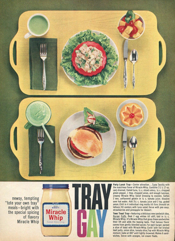 1964 Miracle Whip Salad Dressing Tray Gay 1960s Ad Advert Kraft