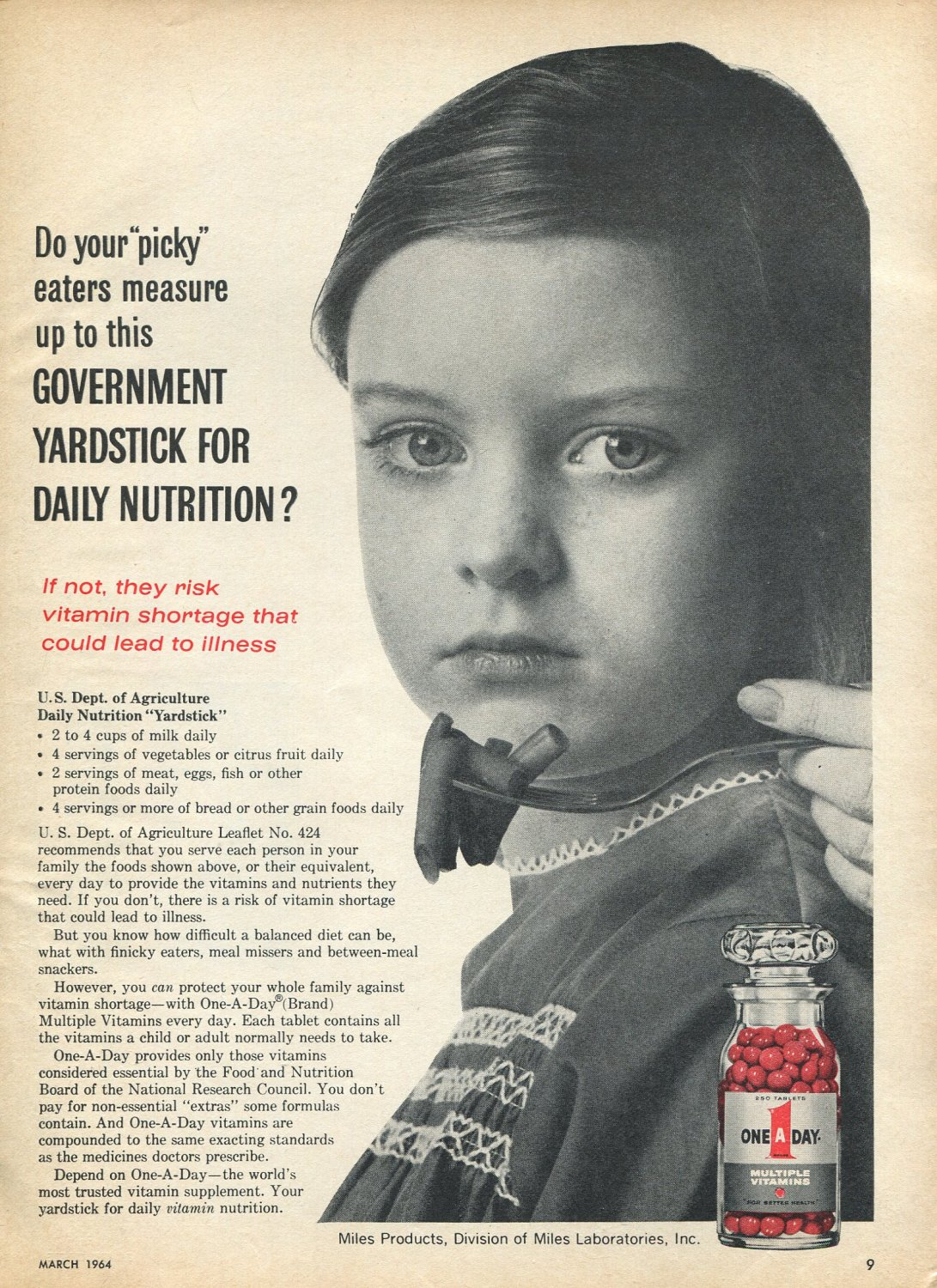 1964 One A Day Vitamins Picky Eaters Government Yardstick for Daily Nutrition Ad