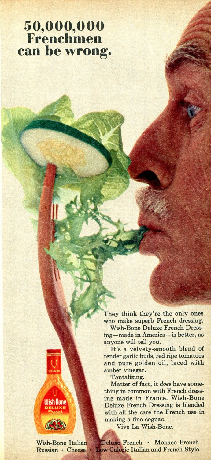 1964 Wish Bone Salad Dressing 50,000,000 Frenchmen Can't Be Wrong Ad Advert