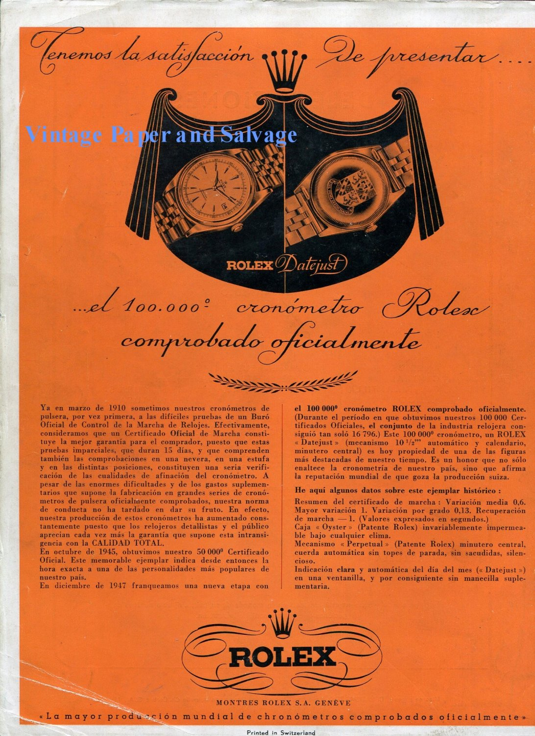 Vintage 1948 Rolex Watch Company 100,000th Chronometer Montres Rolex SA 1940s Swiss Ad Advert Suisse