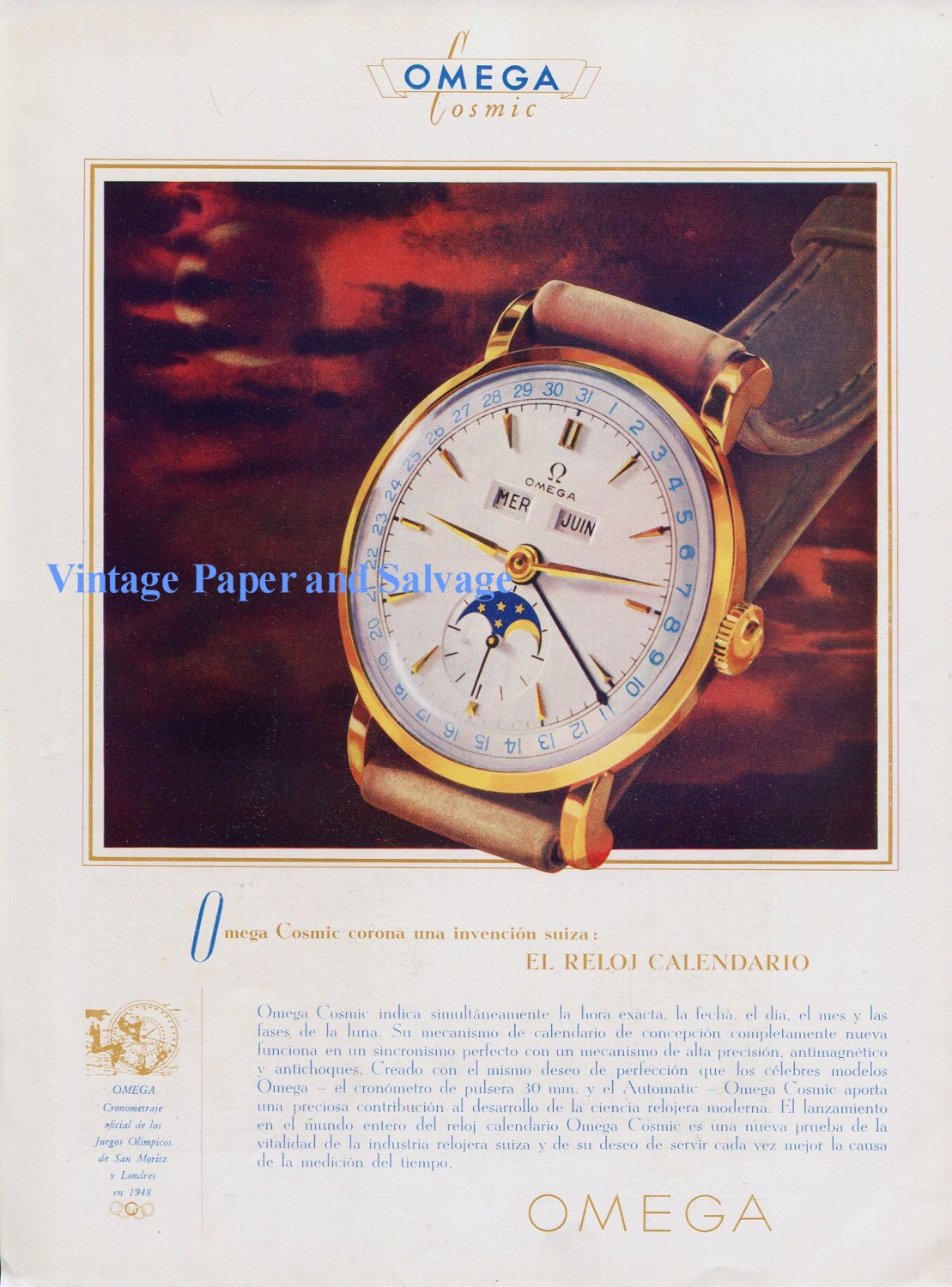 Vintage 1948 Omega Cosmic Watch Advert 1940s Swiss Ad Omega CH Suisse Switzerland
