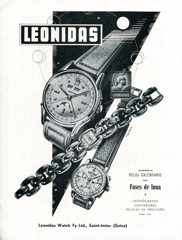 Vintage 1948 Leonidas Watch Company Fases de Luna 1940s Swiss Ad Advert Suisse