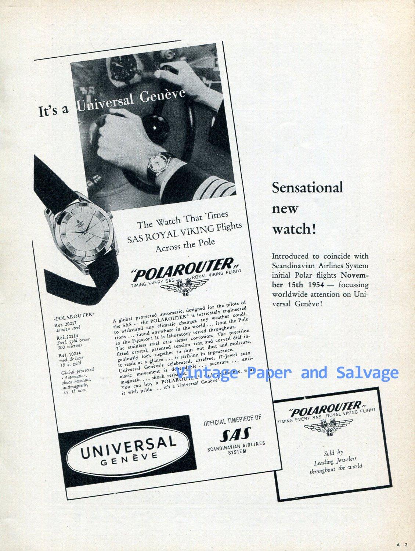 Universal Geneve Polarouter Watch Advert SAS Royal Viking Flights Vintage 1956 Swiss Ad Suisse