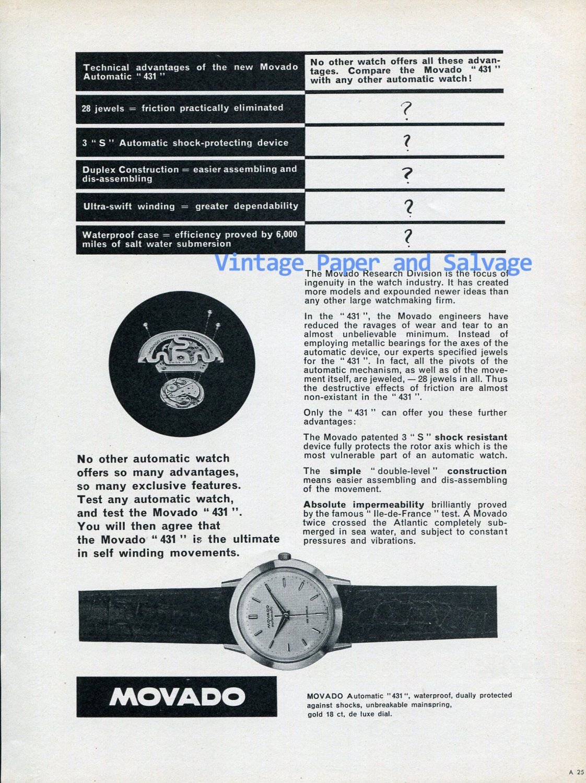 1956 Movado Automatic 431 Watch Advert Vintage 1950s Swiss Print Ad Publicite Suisse