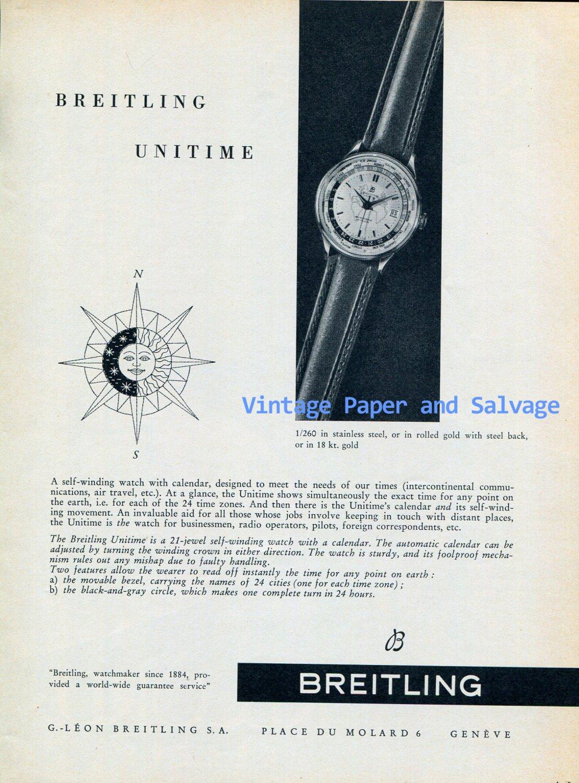 Vintage 1956 Breitling Unitime Watch Advert Swiss Ad Publicite Suisse G Leon Breitling SA