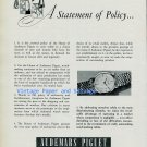 Vintage 1956 Audemars Piguet Watch Company A Statement of Policy Swiss Ad Publicite Suisse