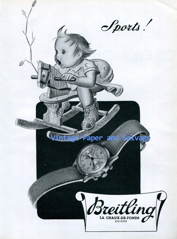 1945 Breitling Watch Company Breitling Sports Advert Vintage 1940s Swiss Ad Suisse Switzerland