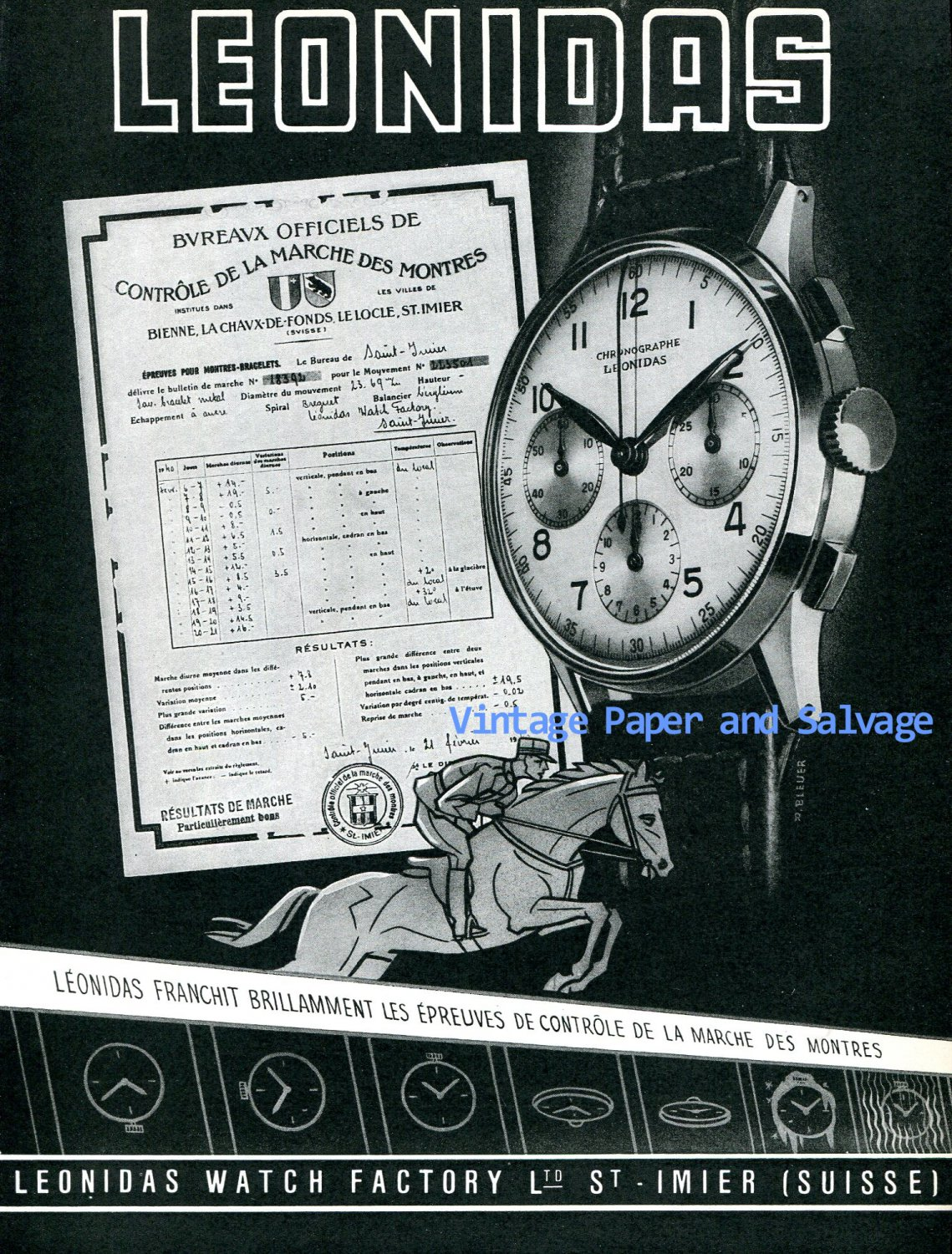 Vintage 1945 Leonidas Watch Company Switzerland 1940s Swiss Ad Advert Publicite Suisse