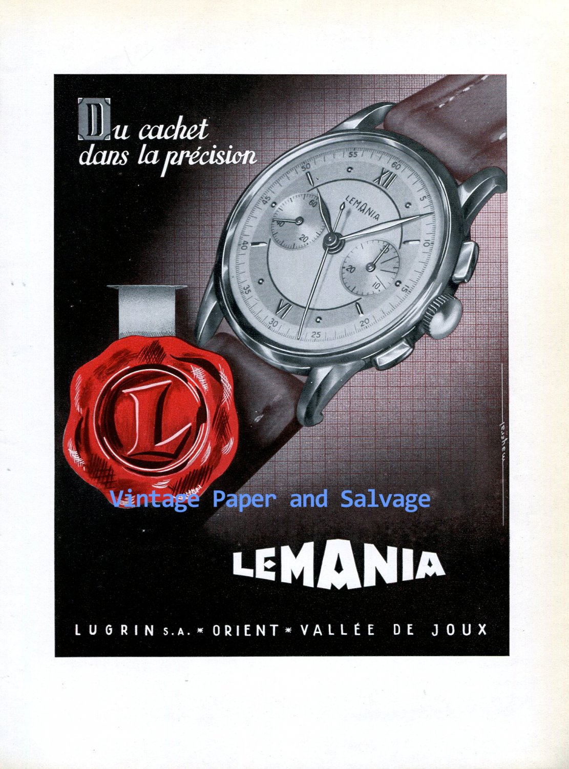 Vintage 1945 Lugrin SA Lemania Watch Company Switzerland 1940s Swiss Ad Advert Suisse