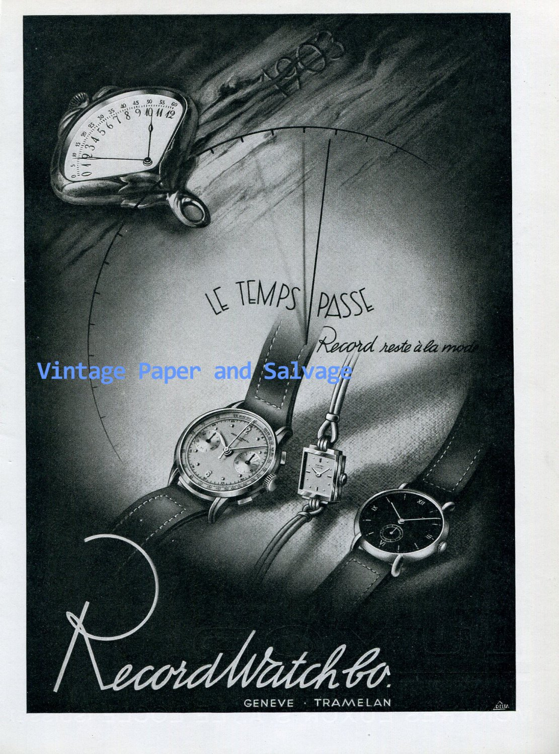 Vintage 1945 Record Watch Company Switzerland 1940s Swiss Ad Publicite Suisse Suiza