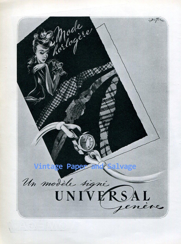 Vintage 1945 Universal Geneve Watch Company Switzerland 1940s Swiss Ad Advert Publicite Suisse