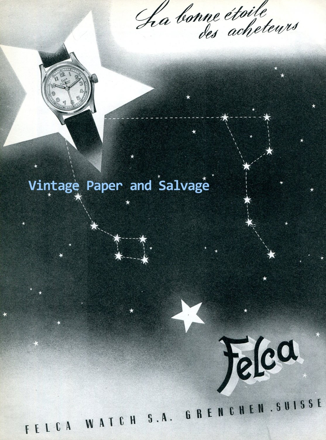 Vintage 1945 Felca Watch Company Grenchen Switzerland 1940s Swiss Ad Advert Suisse Schweiz