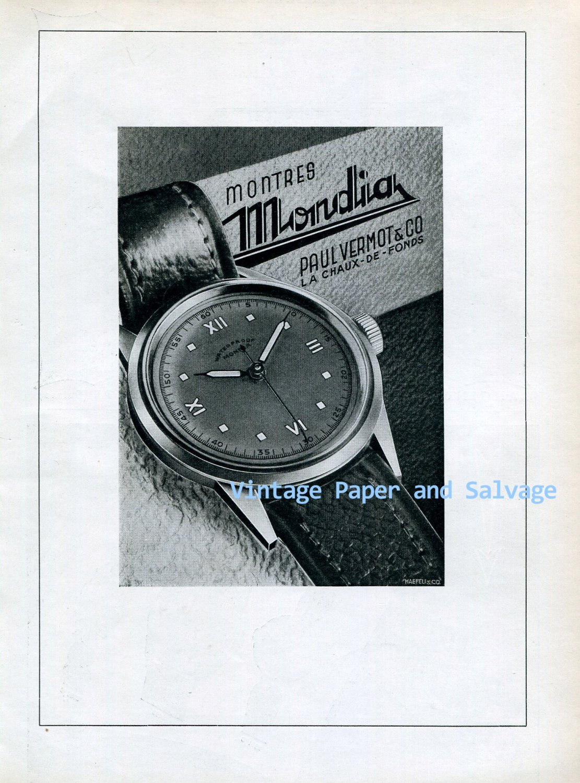 Vintage 1945 Mondia Paul Vermot & Co Watch Company Switzerland 1940s Swiss Ad Publicite Suisse